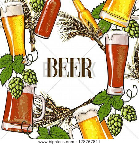 Banner of beer bottle, mug and glass, malt and hop with round place for text, sketch vector illustration isolated on white background. Hand drawn beer bottle, glass, hop round frame background poster