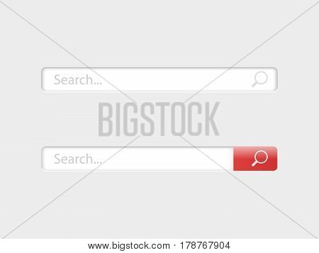 Search bar isolated on grey background. Vector template for internet searching. Web-surfing interface