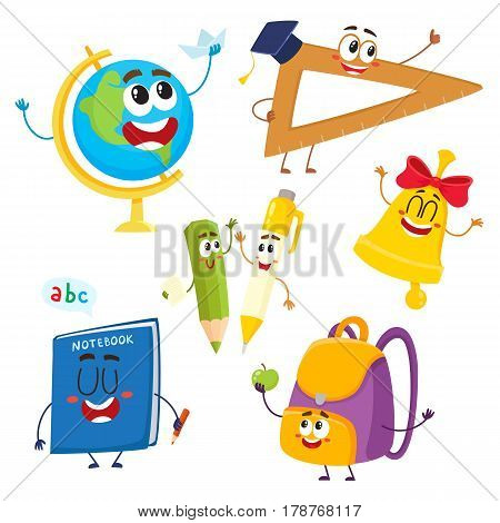 Cute and funny school item characters with smiling human faces, back to school concept, cartoon vector illustration isolated on white background. Set of school item characters, mascots