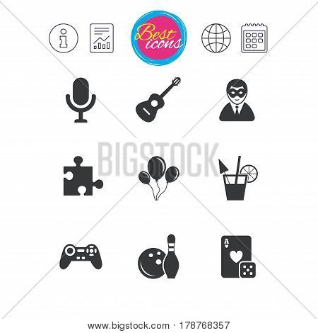 Information, report and calendar signs. Game, bowling and puzzle icons. Entertainment signs. Casino, carnival and alcohol cocktail symbols. Classic simple flat web icons. Vector