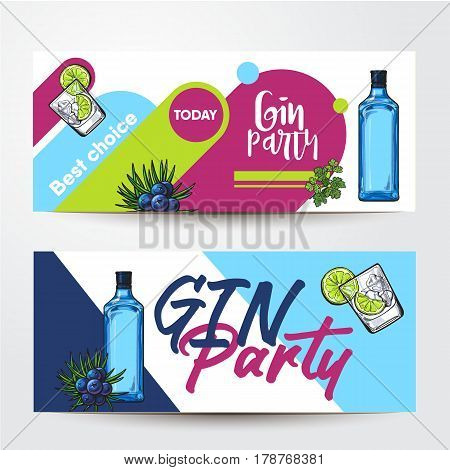 Banners with gin bottle, cocktail shot, lime, juniper and place for text, sketch vector illustration isolated on white background. Party banner, label design, decoration with gin bottle and shot
