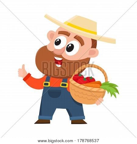 Funny farmer, gardener character in straw hat and overalls holding basket with vegetables, thumb up, cartoon vector illustration isolated on white background. Comic farmer character, design elements