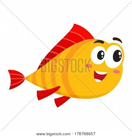 Cute, funny golden, yellow fish character with human face rushing, swimming somewhere, cartoon vector illustration isolated on white background. Yellow fish character, mascot interested in something