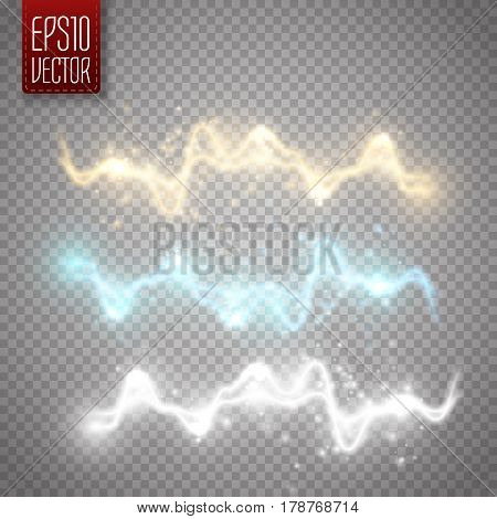 Set of golden, white and blue abstract energy shock effect with many glowing particles. Electric discharge isolated on transparent background. Vector illustration for your design