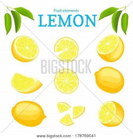 Vector set of ripe tropical yellow lemons fruits. Citrus fruit peeled piece of half slice. Collection of delicious lemon designer elements for packaging juice breakfast health food.
