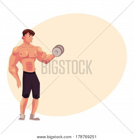 Young shirtless man, male bodybuilder, weightlifter doing bicep workout, training arms with dumbbell, cartoon vector illustration with place for text. Male bodybuilder doing bicep workout