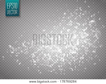 Vector silver glittering star dust trail. Shine particles isolated on transparent background. Dust cloud with glow light