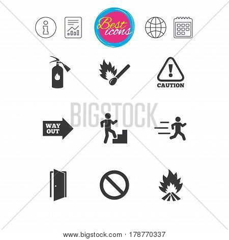 Information, report and calendar signs. Fire safety, emergency icons. Fire extinguisher, exit and attention signs. Caution, water drop and way out symbols. Classic simple flat web icons. Vector