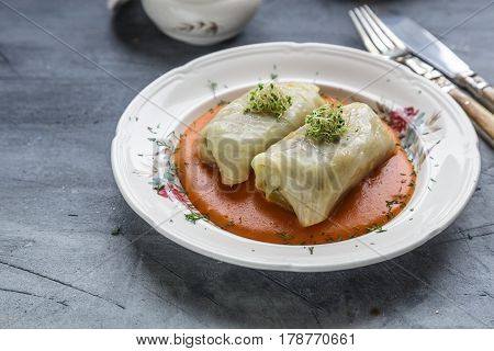 Stuffed cabbage rolls Hungarian cuisine on a white plate