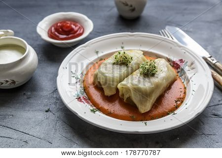 Traditional polish dish - golabki. Cabbage leaves stuffed with minced meat and rice.