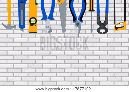 Repair Tools and Instruments on Brick Wall Vector Illustration Background EPS10