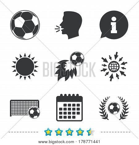 Football icons. Soccer ball sport sign. Goalkeeper gate symbol. Winner award laurel wreath. Goalscorer fireball. Information, go to web and calendar icons. Sun and loud speak symbol. Vector