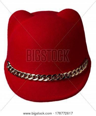 Women's Hat Felt Isolated On White Background .fashion Hat Felt. Red Hat