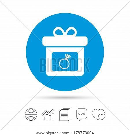 Gift box sign icon. Present with engagement ring symbol. Copy files, chat speech bubble and chart web icons. Vector