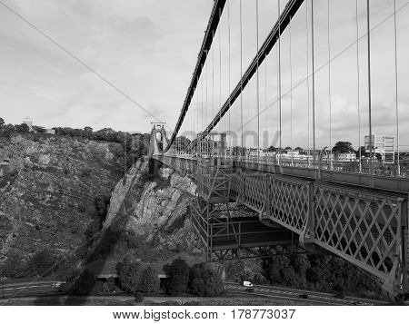 Clifton Suspension Bridge In Bristol In Black And White