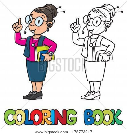 Coloring book of Secretary or receptionist. A smart woman in round glasses and a suit with books under his arm and headset, raised index finger. Profession series. Children vector illustration.