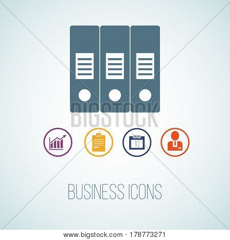 Vector Illustration Of Business Icon In The Form Of Folder. Additional Symbols For Business