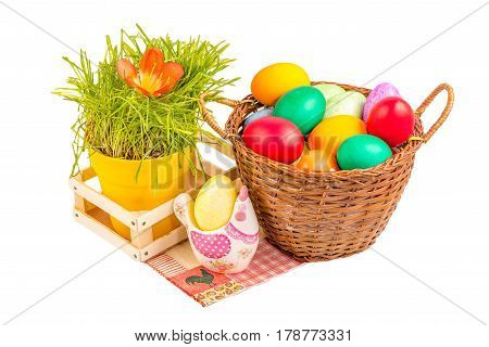 Basket With Easter Eggs And Ceramic Chicken