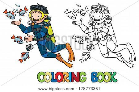 Coloring book of funny diver or oceanologist or oceanographer in scuba gear near the fishes. Profession ABC series. Children vector illustration.