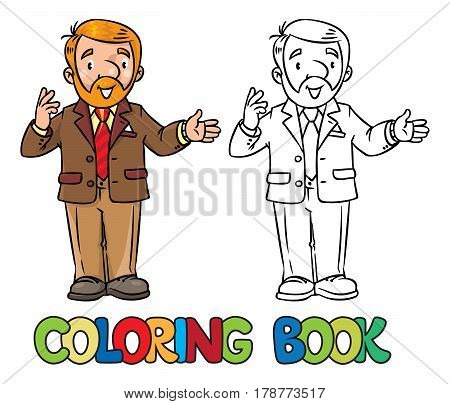 Coloring book of funny university lecturer. A man with a beard is giving a lecture or lesson, or tells something near the stand. Profession series. Childrens vector illustration