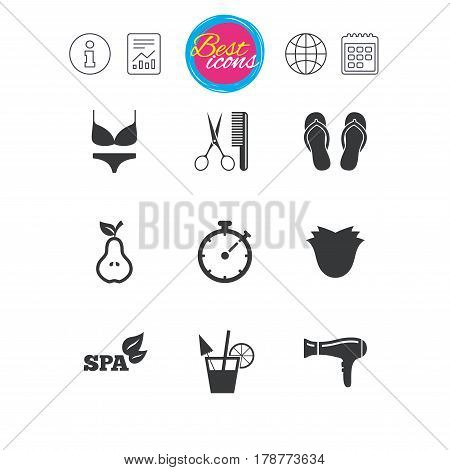 Information, report and calendar signs. Hairdresser, spa icons. Diet cocktail sign. Lingerie, scissors and hairdryer symbols. Classic simple flat web icons. Vector