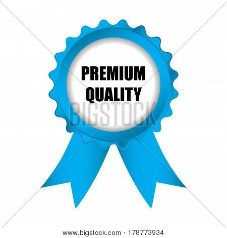 Special Premium Quality Blue Badge With Ribbons, Vector Illustration, Eps10