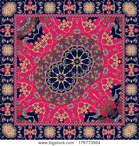 Carpet with a double flower - mandala and bright ornamental frame. Vector illustration. Bandana print or festive tablecloth in ethnic style.