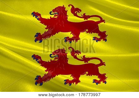 Flag of Hautes-Pyrуnуes is a department in southwestern France. It is part of the Occitanie region. 3d illustration