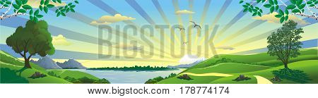 Panorama landscape - a view of the lake from the hill. Birch branches. The trees on the hill. The mountains and the lake on the horizon. Vector illustration