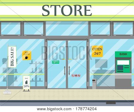 View of the entrance to the 24-hour shop. Vector illustration.