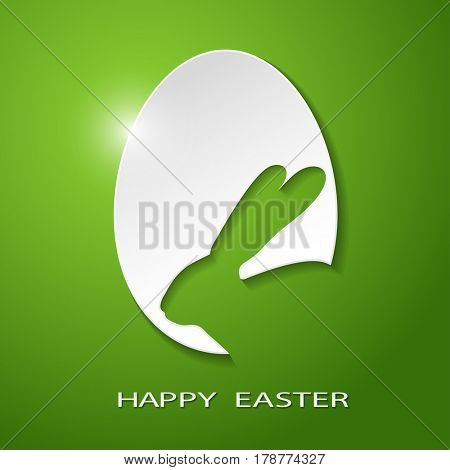 Easter Icon Egg silhouette of a Rabbit on a green background. Illustration