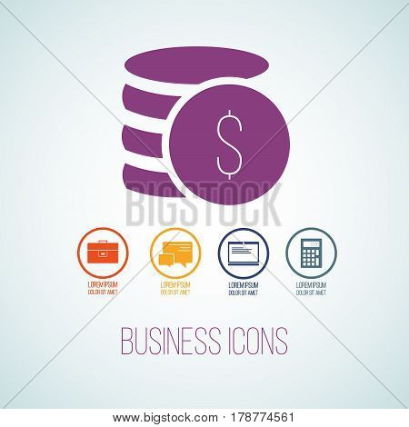 Vector Illustration Of Business Icon In The Form Of Money And Cents. Flat Additional Symbols For Bus