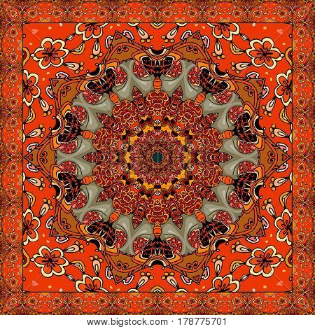 Lovely tablecloth or beautiful scarf with flower - mandala in ethnic style with ornamental frame. Vector illustration. Wedding invitation.