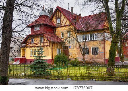 KALININGRAD, RUSSIA - MAR 20, 2017: Old German house in Kaliningrad (former königsberg)