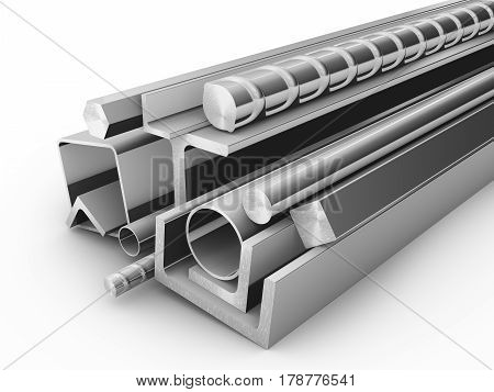 steel products for construction on a white background. 3d rendering.