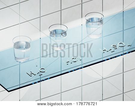 A glass shelf in the laboratory with liquids H2O HCL and H2SO4