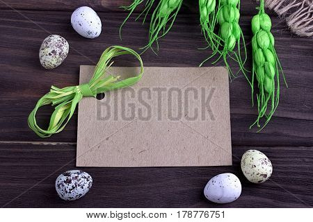 Easter Eggs With Burlap Cloth Yellow Branches Green Ribbon And Space For Text.