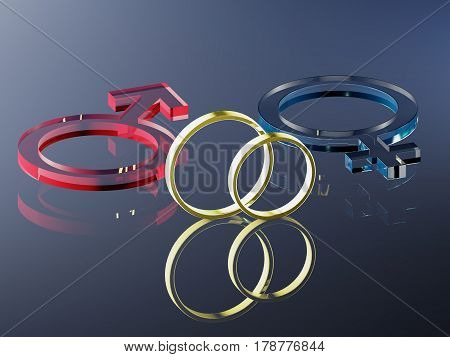 The symbols Mars and Venus for man and woman with wedding rings (rendering)