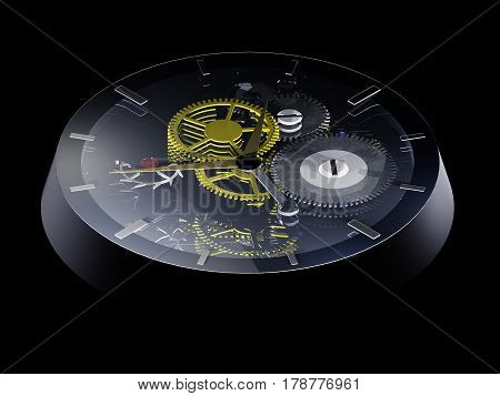 3D computer rendering of a clockwork with hands and gears