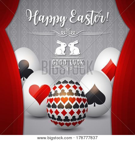 Easter greetings card with red curtain gambling symbols over white eggs vector illustration. Decorative composition suitable for invitations greeting cards flyers banners.