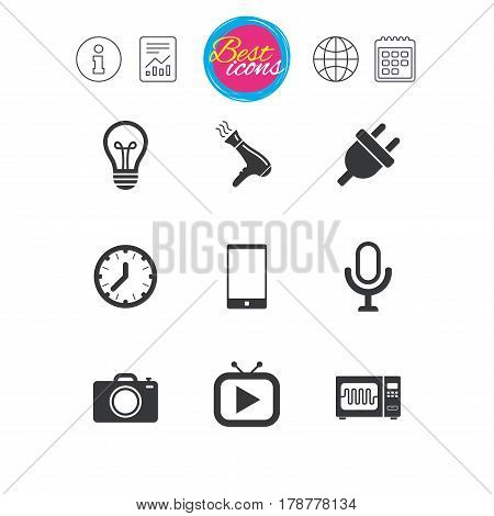 Information, report and calendar signs. Home appliances, device icons. Electronics signs. Lamp, electrical plug and photo camera symbols. Classic simple flat web icons. Vector