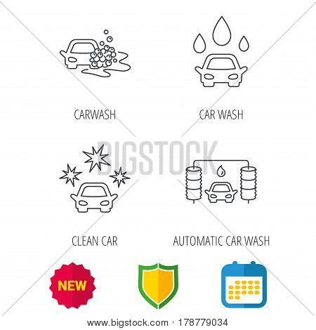 Car wash icons. Automatic cleaning station linear signs. Clean car, automatic carwash flat line icons. Shield protection, calendar and new tag web icons. Vector