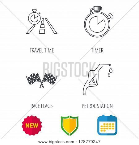 Race flags, travel timer and petrol station icons. Timer linear sign. Shield protection, calendar and new tag web icons. Vector