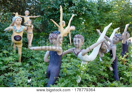 Parikkala, Finland - August 21, 2015: Sculptures by ITE-artist Veijo Ronkkonen in his sculpture park Parikkalan patsaspuisto . The park contains about 560 concrete statues and a magnificent garden