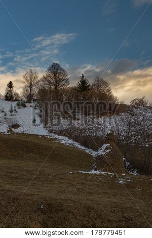 Sunset In Maramures County In Romania.