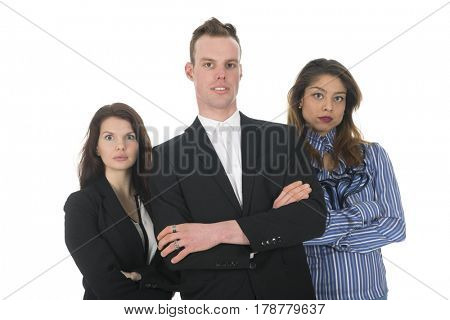 Modern business team isolated over white background