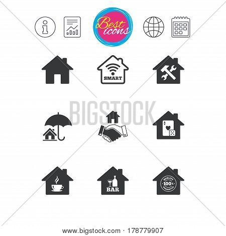 Information, report and calendar signs. Real estate icons. House insurance, broker and casino with bar signs. Handshake deal, coffee and smart house symbols. Classic simple flat web icons. Vector