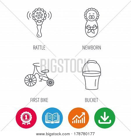 Newborn, rattle and first bike icons. Newborn child, bucket linear signs. Award medal, growth chart and opened book web icons. Download arrow. Vector