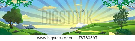 Panorama landscape sunrise over the Bay. Birch branches. The trees on the hill. The mountains and the lake on the horizon. Vector illustration