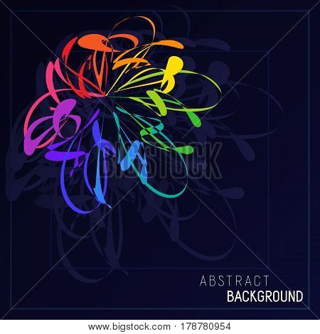 Bright Abstract Stylization Colorful Flower in Dark Blue Background. Decorative Colored Template for Placard Poster Signboard. Creative Style.